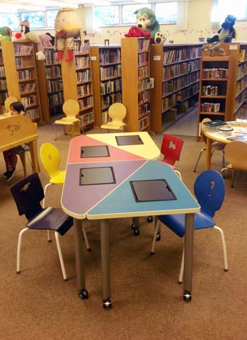 This iGroup table is located at the Hackensack Public Library in New Jersey, and specially designed for elementary and middle school student use.