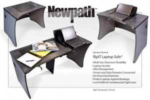 The Newpath from SMARTdesks is a new take on the mobile laptop cart. Laptops charge securely in the desk. The Newpath is a time-efficient option because teachers and students do not have to unplug and remove laptops before using them.